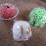 Wagashi prune, lapin et éponge